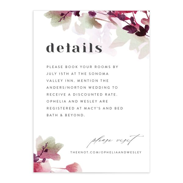 Watercolor Blooms enclosure card front burgundy