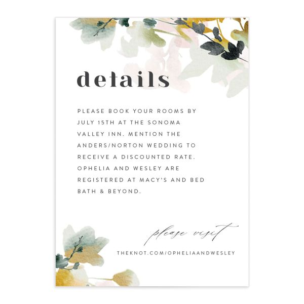 Watercolor Blooms enclosure card front gold