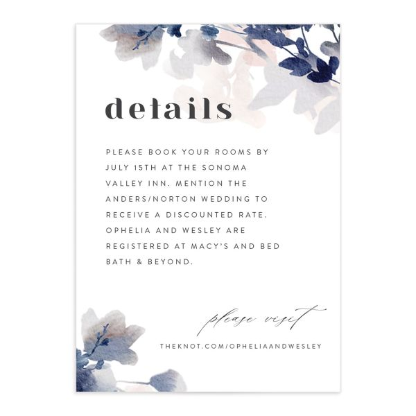 Watercolor Blooms enclosure card front navy