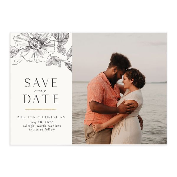 Botanical Floral save the date card front