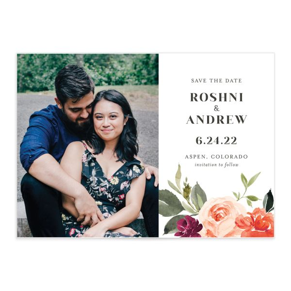 Vibrant Floral save the date front orange