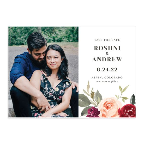 Vibrant Floral save the date front red