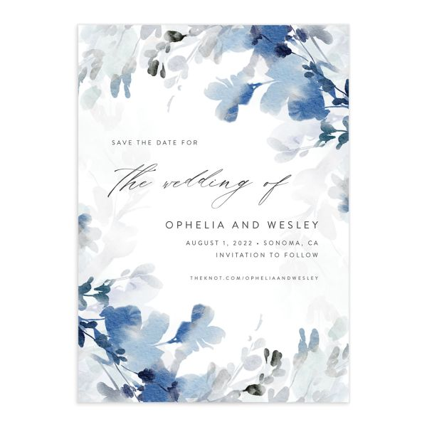Watercolor Blooms save the date front blue