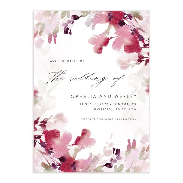 Watercolor Blooms save the date front burgundy