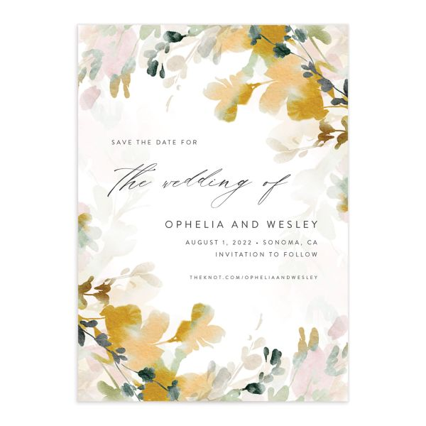 Watercolor Blooms save the date front gold