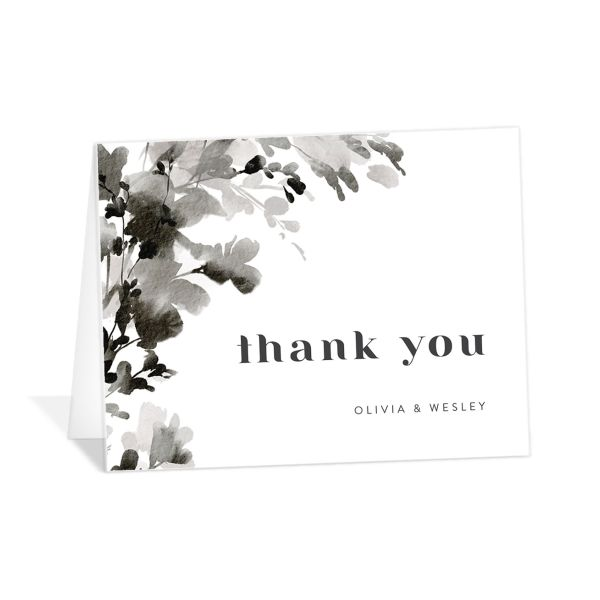 Watercolor Blooms thank you card black