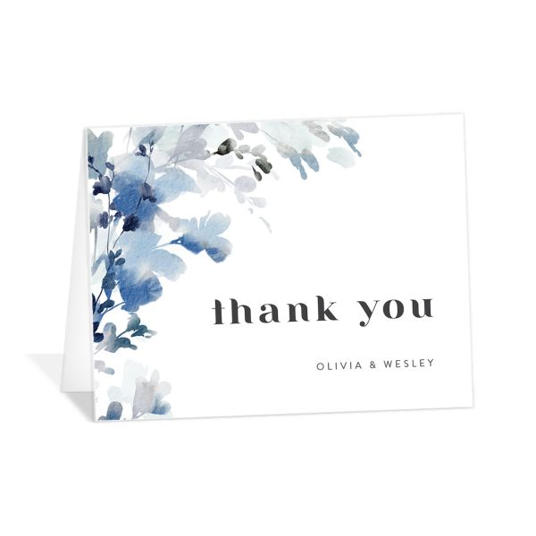 Watercolor Blooms thank you card blue