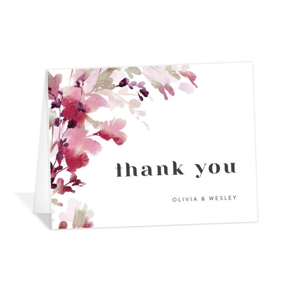 Watercolor Blooms thank you card burgundy