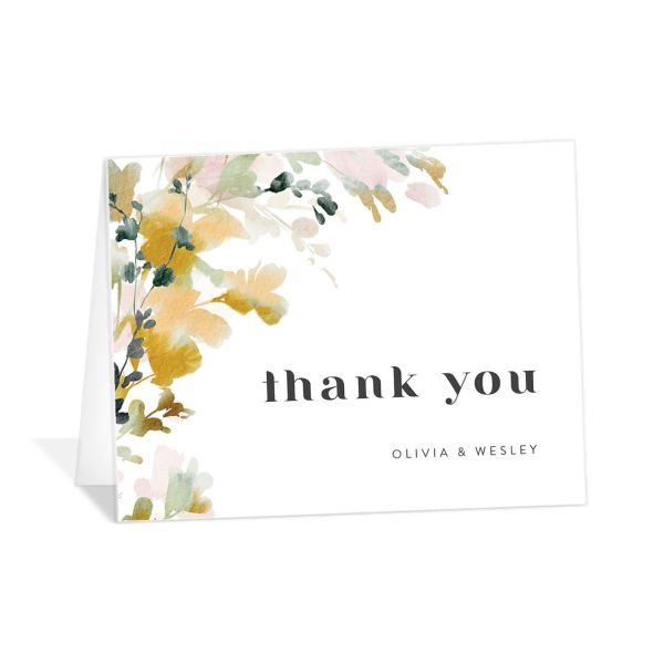Watercolor Blooms thank you card gold