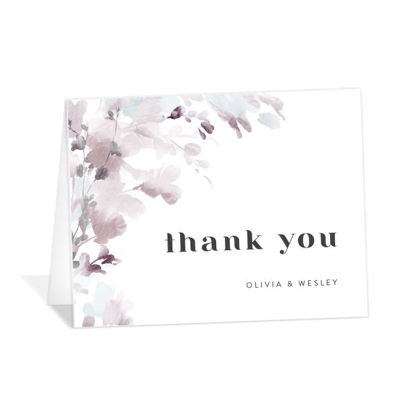 Watercolor Blooms thank you card gray