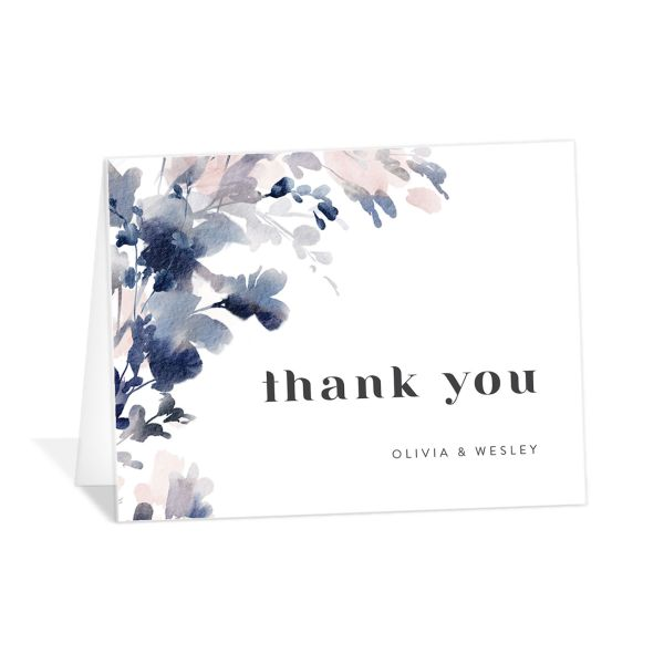 Watercolor Blooms thank you card navy