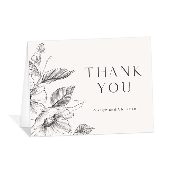 Botanical Floral thank you card front