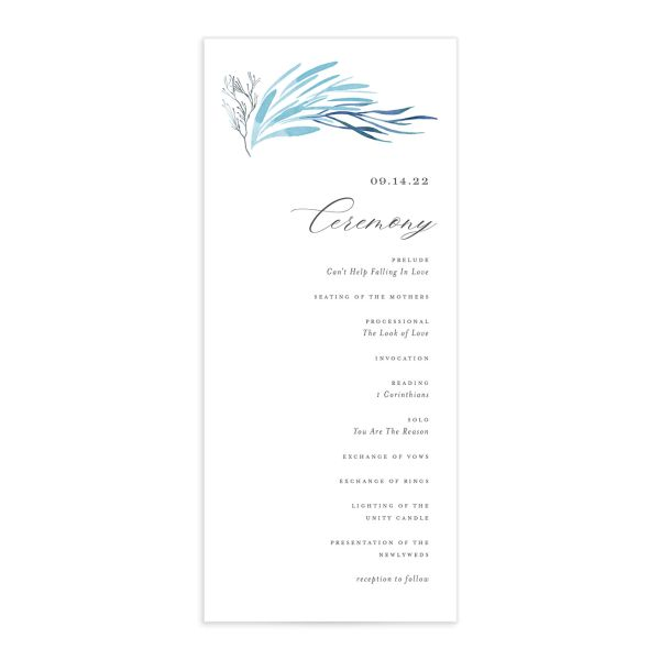 Elegant Beach wedding program front blue