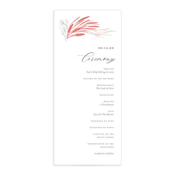 Elegant Beach wedding program front pink
