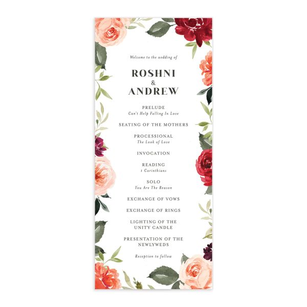 Vibrant Floral wedding program front orange