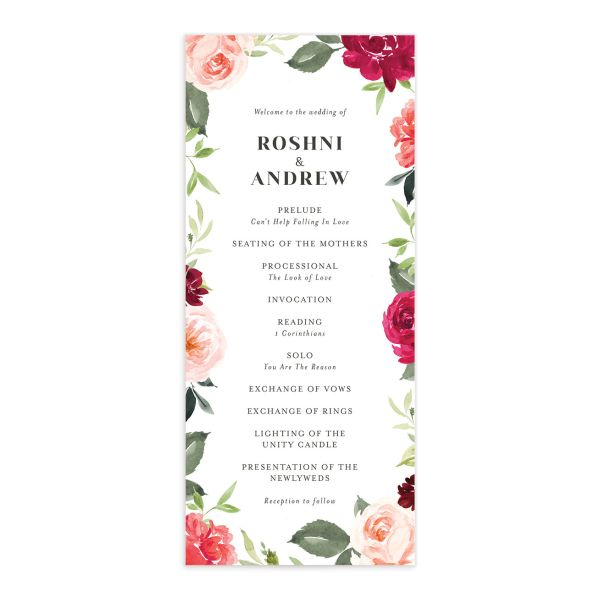 Vibrant Floral wedding program front pink