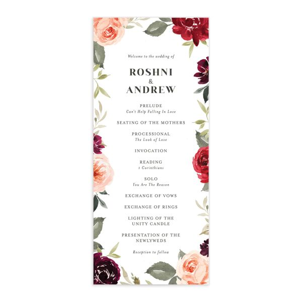 Vibrant Floral wedding program front red
