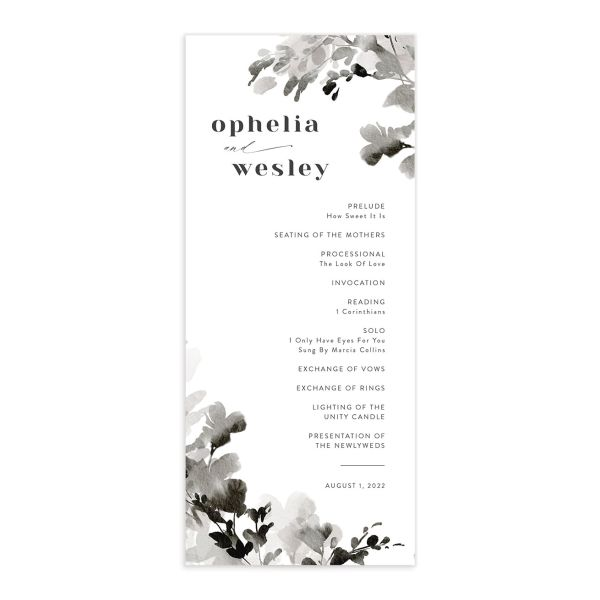 Watercolor Blooms wedding program front black