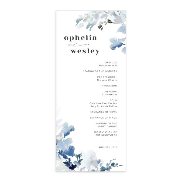 Watercolor Blooms wedding program front blue