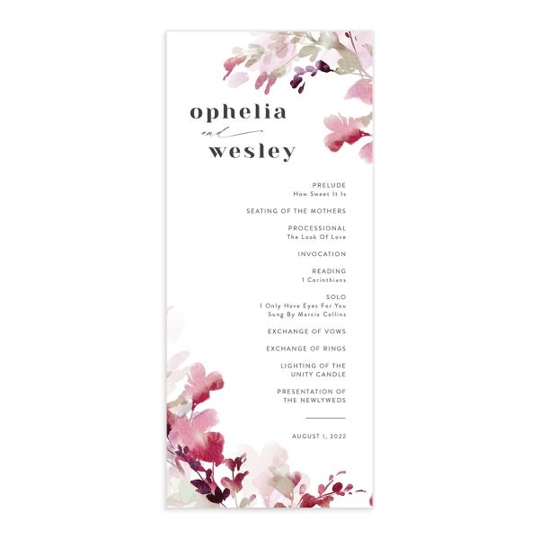 Watercolor Blooms wedding program front burgundy