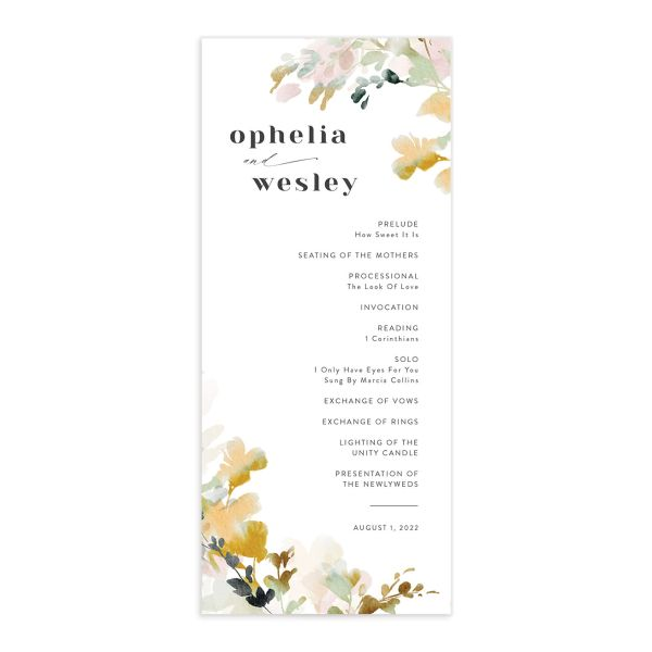 Watercolor Blooms wedding program front gold