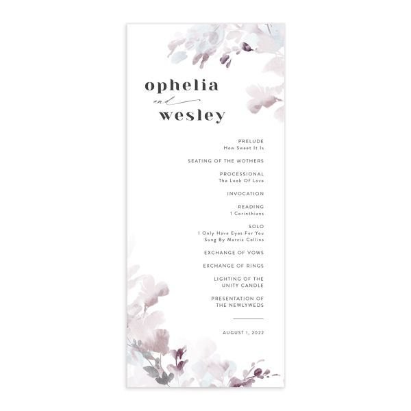 Watercolor Blooms wedding program front gray