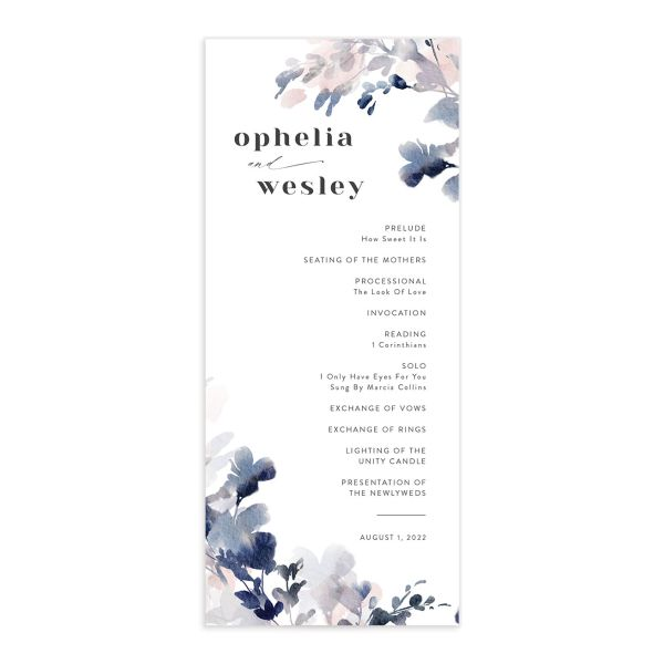 Watercolor Blooms wedding program front navy