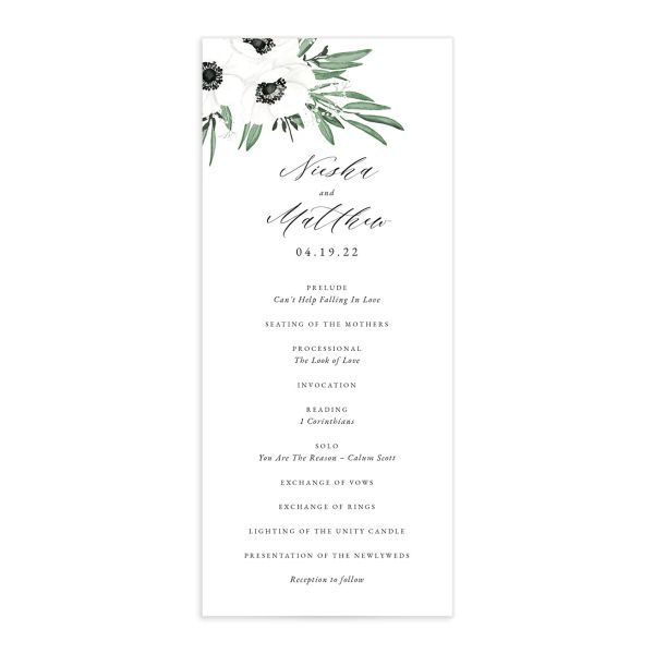 Classic Anemone wedding program front