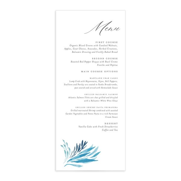 Elegant Beach wedding menu front blue
