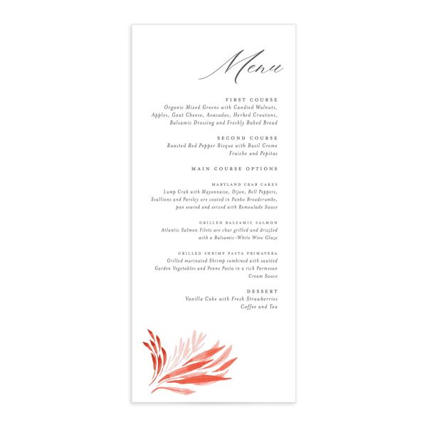 Elegant Beach wedding menu front pink