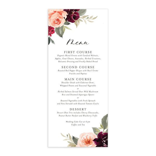 Vibrant Floral menu front red