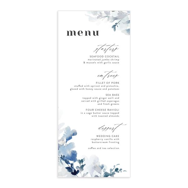 Watercolor Blooms menu front blue