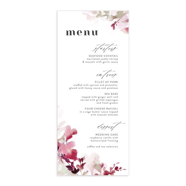 Watercolor Blooms menu front burgundy