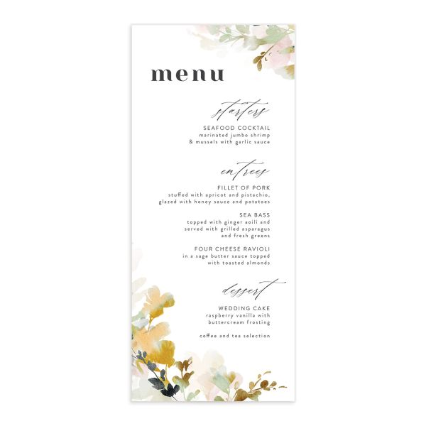 Watercolor Blooms menu front gold