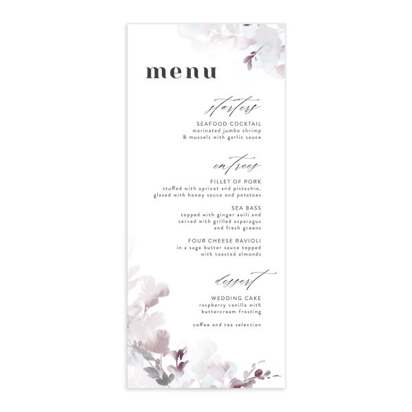 Watercolor Blooms menu front gray