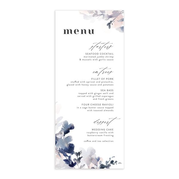 Watercolor Blooms menu front navy