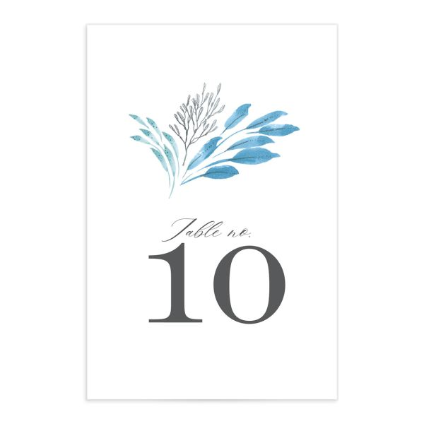 Elegant Beach table number front blue