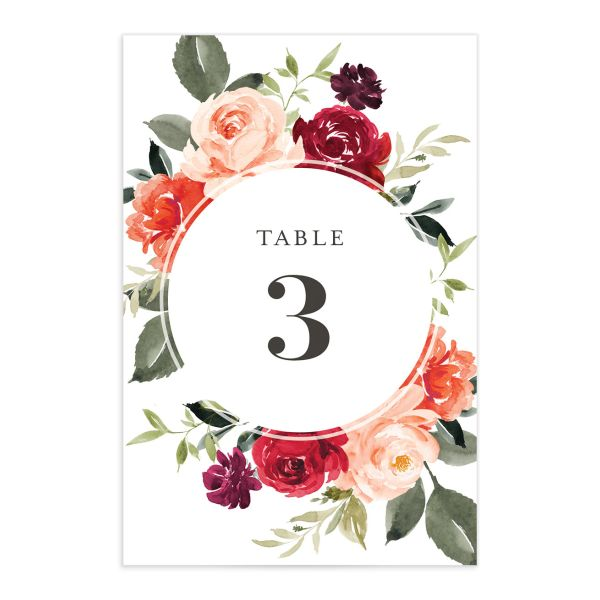 Vibrant Floral table number front orange