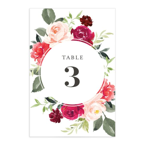 Vibrant Floral table number front pink