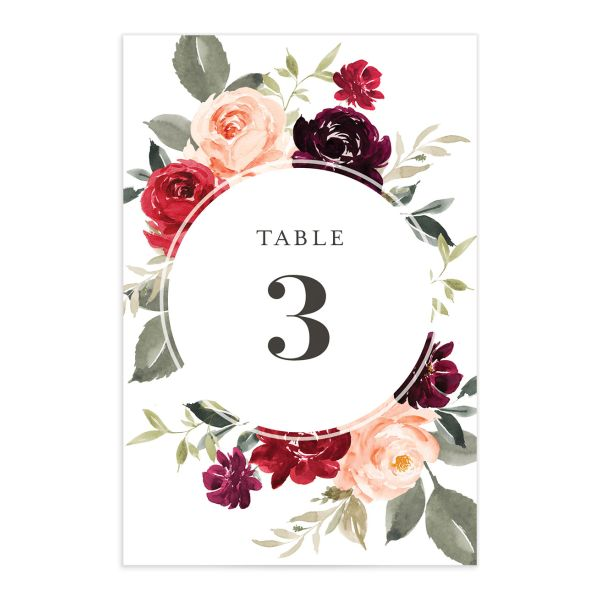 Vibrant Floral table number front red