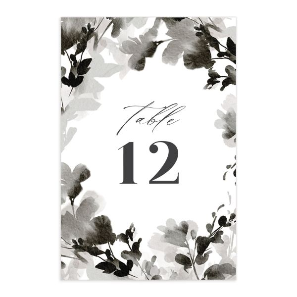 Watercolor Blooms table number front black