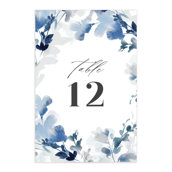 Watercolor Blooms table number front blue