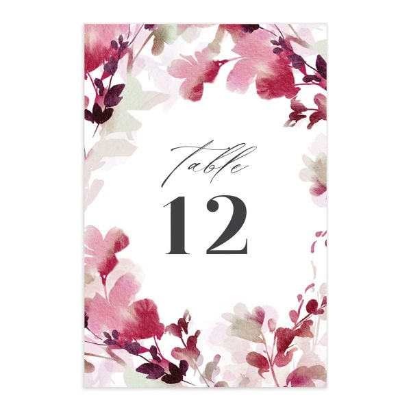 Watercolor Blooms table number front burgundy