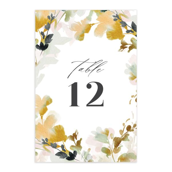 Watercolor Blooms table number front gold