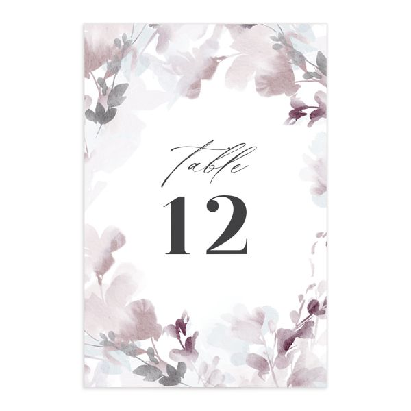 Watercolor Blooms table number front gray