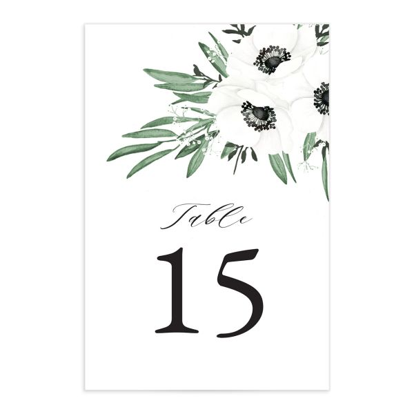 Classic Anemone table number front