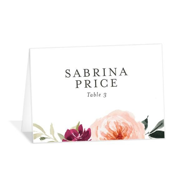 Vibrant Floral place card front orange
