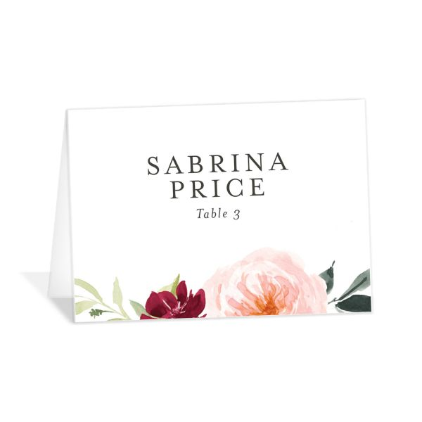 Vibrant Floral place card front pink