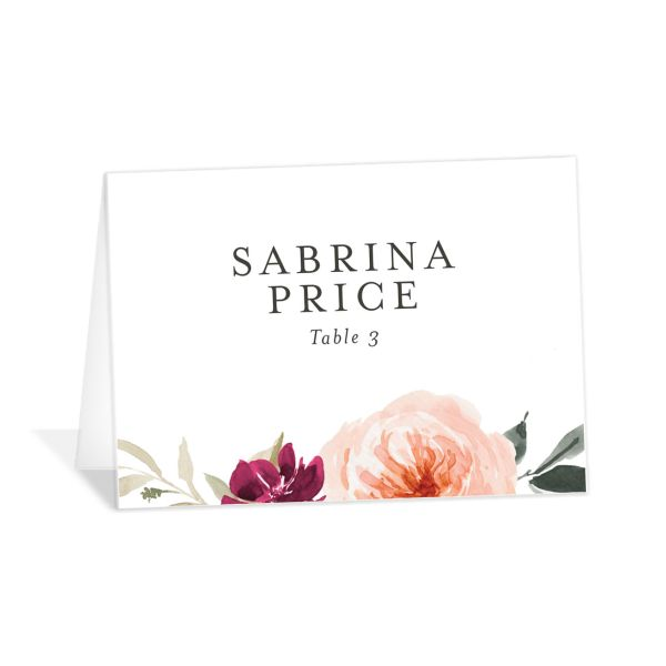 Vibrant Floral place card front red