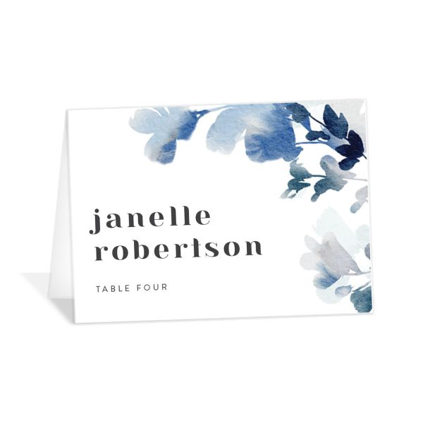 Watercolor Blooms place card blue